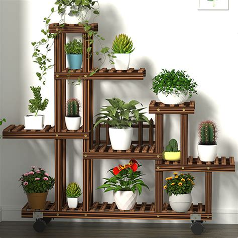 Outdoor Wood Plant Stand With Wheels