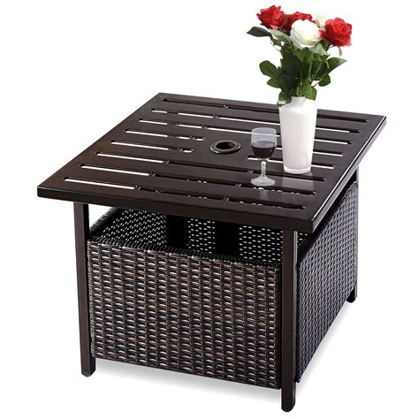 Outdoor Coffee Table With Umbrella Hole Small Side Wicker W