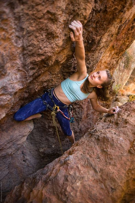 Outdoor Rock Climbing Woman