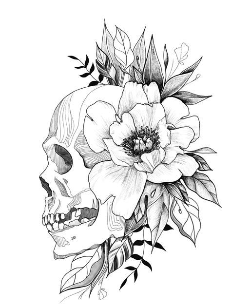 Outline Flower Skull Drawing