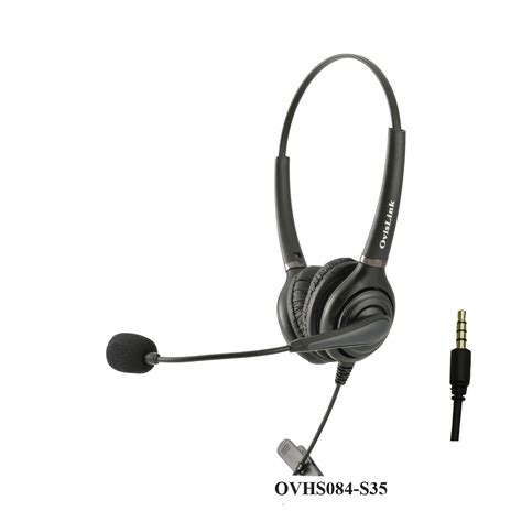 OvisLink Call Center Headset with 4 Conductors 3.5mm Quick Disconnect Cord for LG G3 and Samsung Galaxy