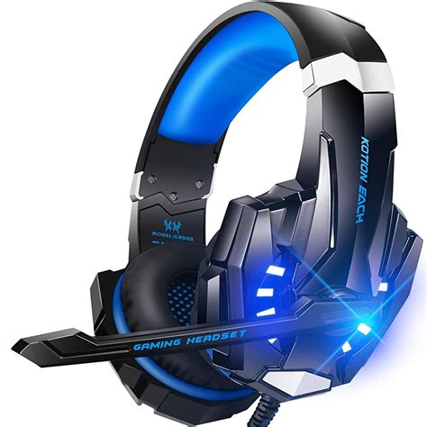 PC Gaming Headset with Mic, Noise Cancelling Over Ear Headphones with LED Light, Bass Surround, Soft Memory Earmuffs for Laptop Mac Nintendo Switch Games Fu (Blue)