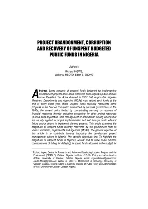[pdf] Project Abandonment Corruption And Recovery Of Unspent .