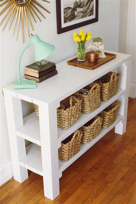 Painted Wood Entry Table Diy With Shelf