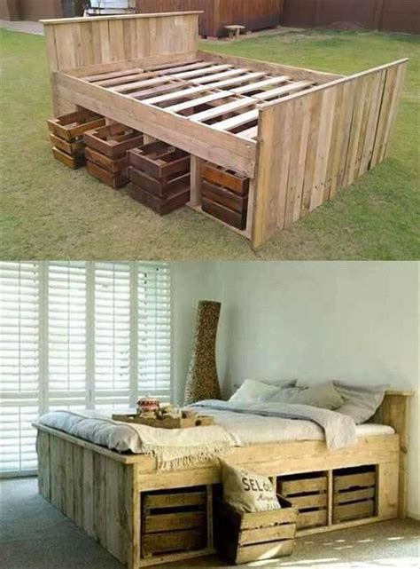 Pallet Bed With Storage Diy Bedroom