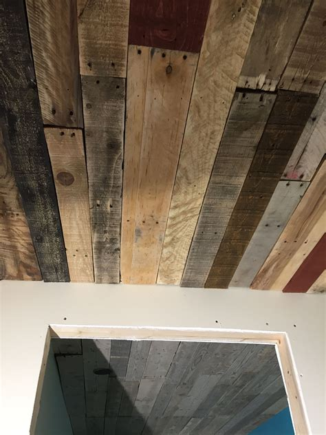 Pallet Wood Ceiling Diy