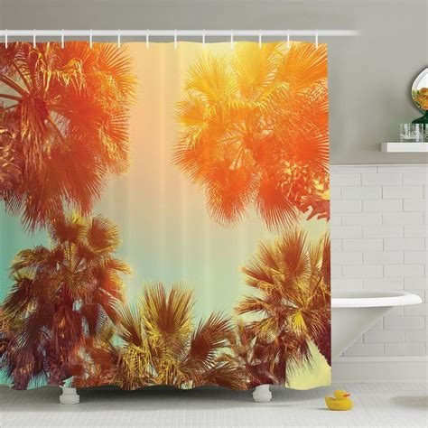Palm Tree Trees Sunlights Tranquility In Tropical Nature Landscape At Summer Theme Shower Curtain Set