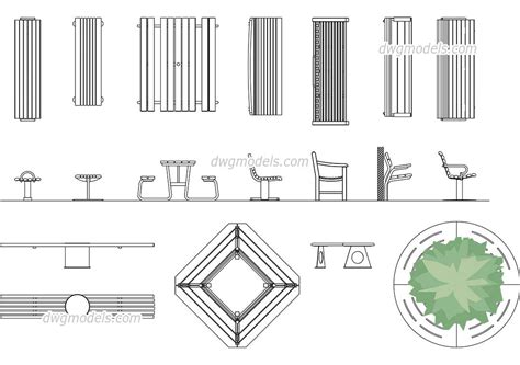 Park Bench Cad Block Plan View