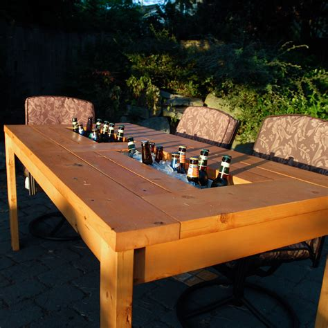 Patio Cooler Table Design
