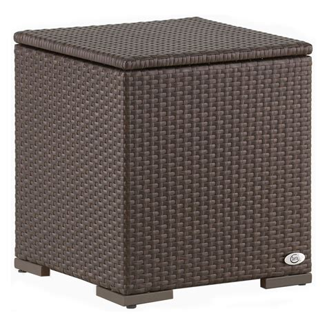Patio Side Table With Storage Brown Wicker Lounge