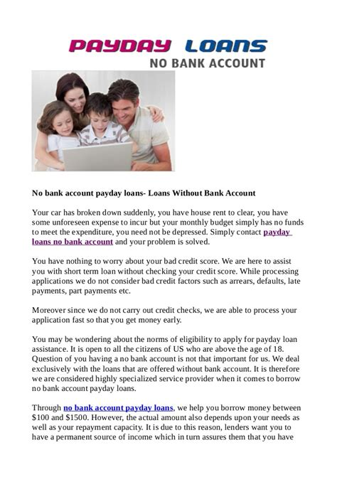Payday Loans Without Having A Bank Account