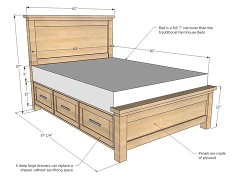 Pedestal-Beds-With-Drawers-Plans
