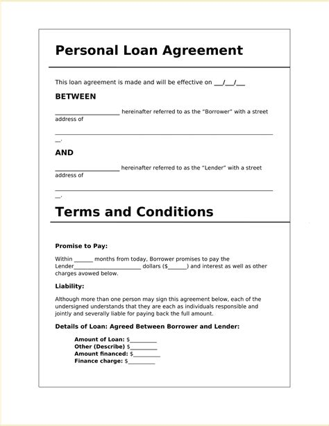 Personal Loan Agreement Between Individuals