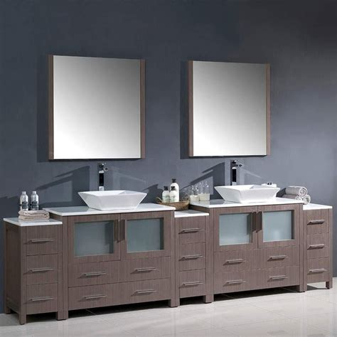 Peterman 108 Double Bathroom Vanity Set With Wood Frame Mirror