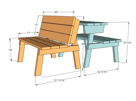 Picnic Table Bench Conversion Plans