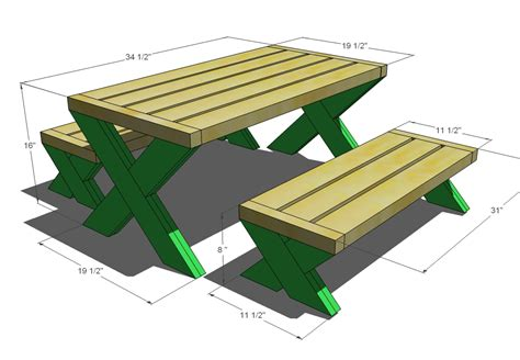 Picnic Table Blueprints With All Measurements Are Approximate