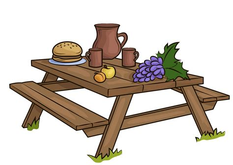 Picnic Table Drawing Illustrations