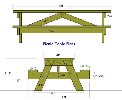 Picnic Table Plans 2x8