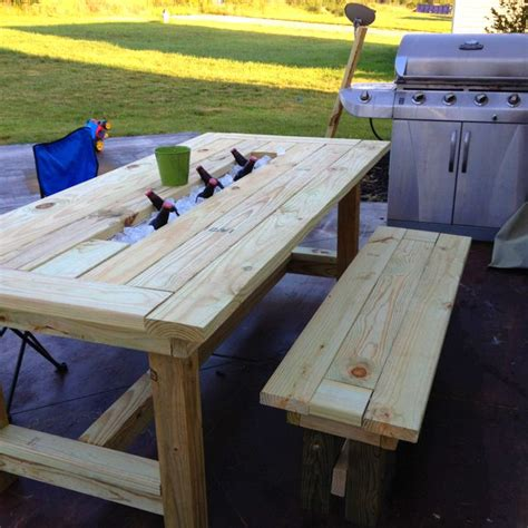 Picnic Table With Cooler In The Middle Plans To Prosper