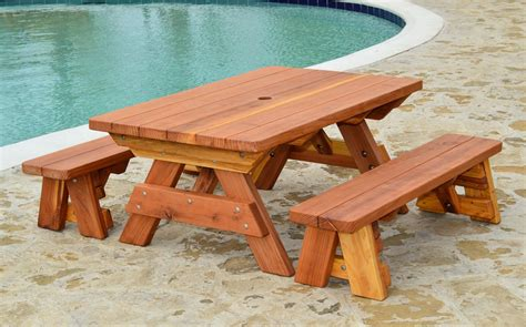 Picnic-Table-With-Separate-Benches-Plans