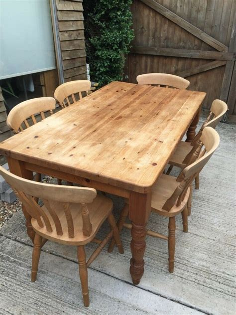 Pine-Farmhouse-Table-And-6-Chairs