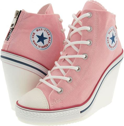 Pink And Black Wedge Converse Sneakers