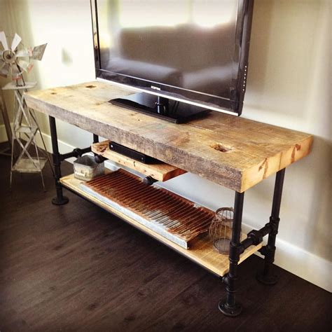 Pipe And Wood Tv Stand Diy With Barn