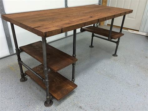 Pipe Wood Desk With Shelves Pictures