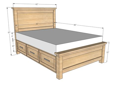 Plans For Queen Size Bed Frame With Drawers Plans