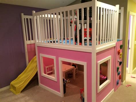Playhouse Loft Bed With Stairs And Slide Plans