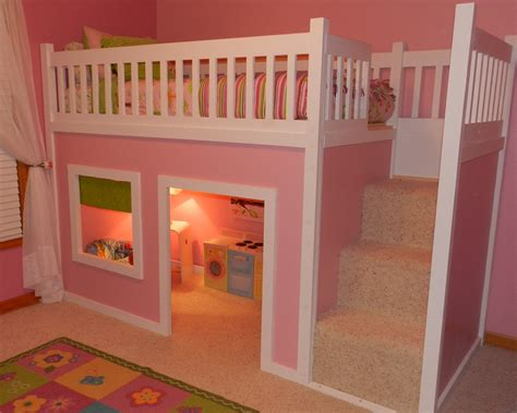 Playhouse Loft Bed With Stairs Plans For A Bunk Bed
