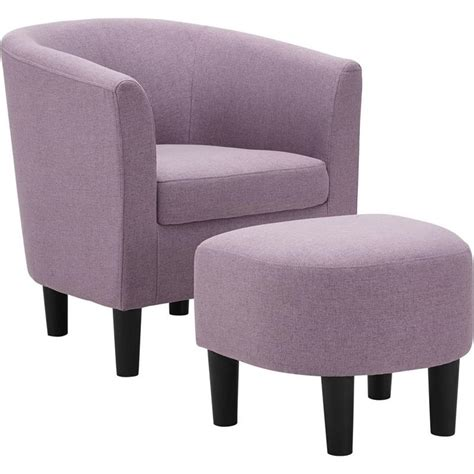 Plum Accent Chair With Ottoman