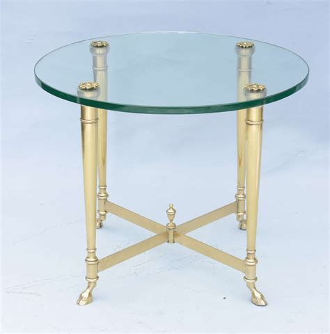 Polished Brass And Glass End Tables