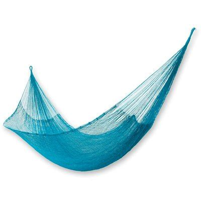 Portable Double Person Aqua Waters Hand-Woven Mayan Artists Of The Yucatan Nylon With Hanging Accessories Included Indoor And Outdoor Hammock