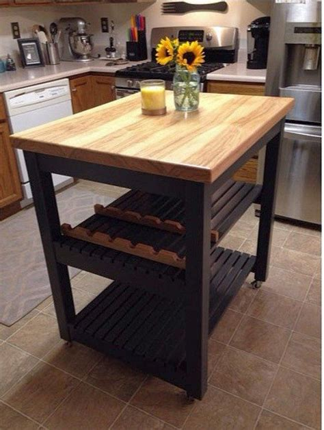 Portable kitchen island butcher block Image