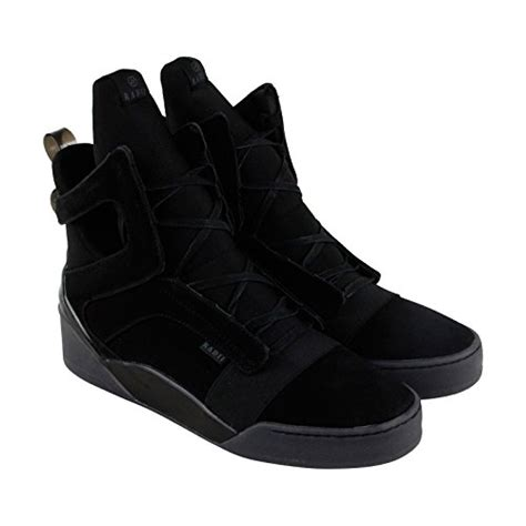 Prism Mens Black Suede High Top Lace up Sneakers Shoes