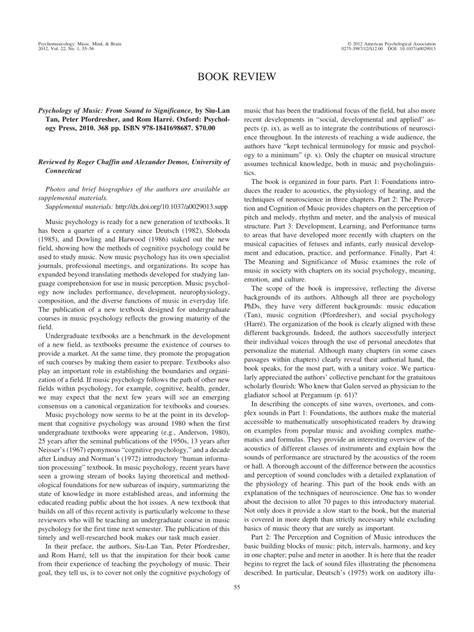 Psychology Of Music From Sound To Significance Pdf And Scientific American Presenting Psychology Pdf Free Download