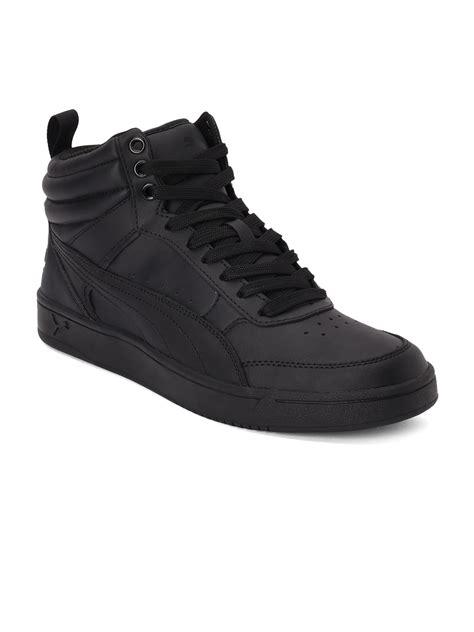 Puma Apex L Mens Black Leather High Top Strap Sneakers