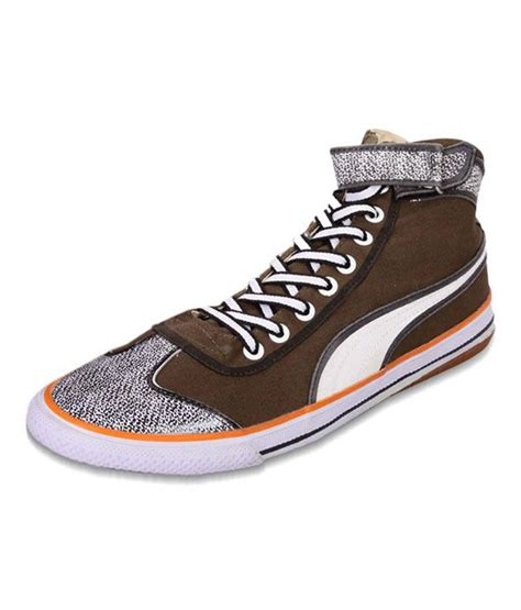 Puma Brown High Ankle Length Sneakers