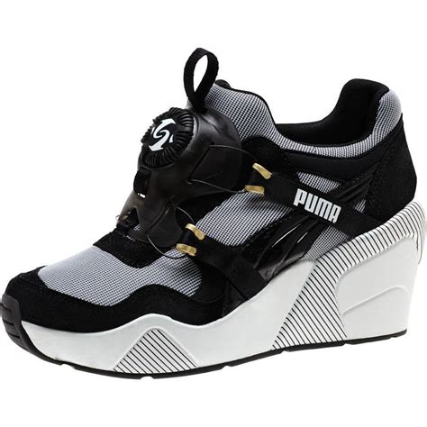 Puma Disc Wedge Black And White Womens Sneakers