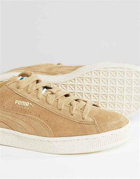 Puma Exclusive To Asos Suede Basket Sneakers In Sand