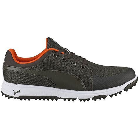Puma Golf Men's Grip Sport Forest Night Vibrant Orange Sneaker