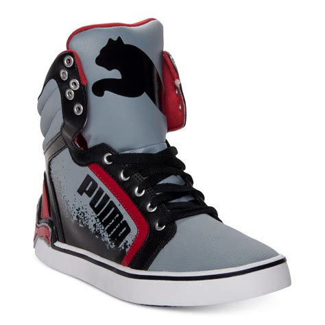Puma Gray And Red Casual Sneakers For Men Zappos