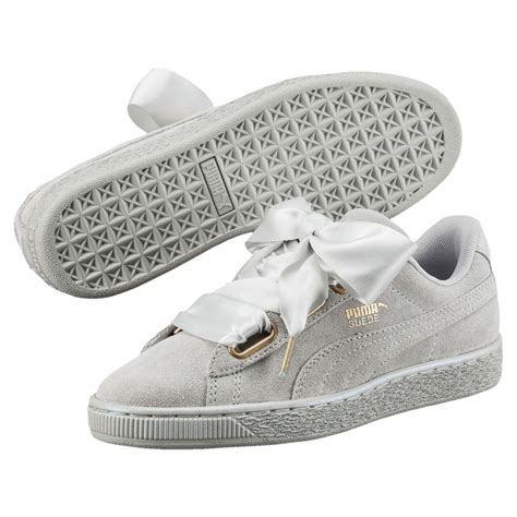 Puma Gray Suede Satin Sneakers