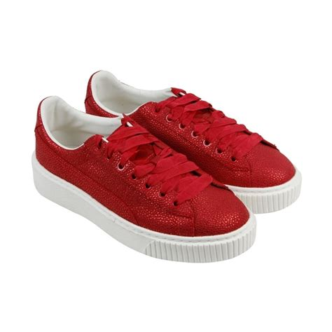 Puma Leather Platform Sneakers Red