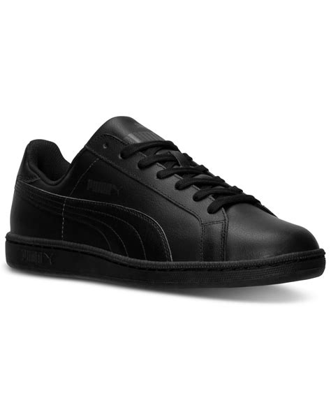 Puma Men Black Smash Leather Sneakers
