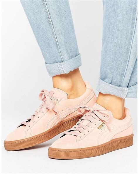 Puma Pink Suede Classic Sneakers With Gum Sole