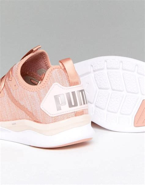 Puma Running Ignite Flash Evoknit Satin Sneakers In Dusky Pink