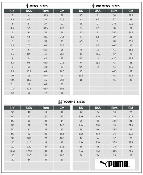 Puma Sneakers Size Chart Cm