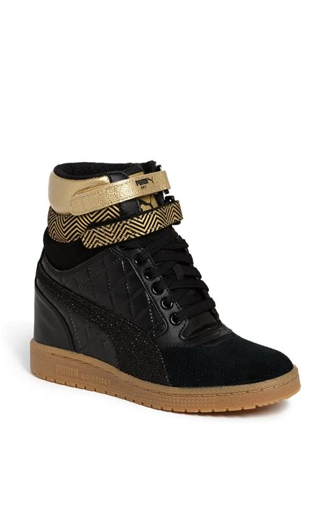 Puma Wedge Sneakers Black And Gold
